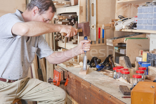 Using chisel on workbench Stock photo © sdenness