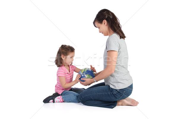 Moeder wereld dochter wereldbol aarde Stockfoto © sdenness