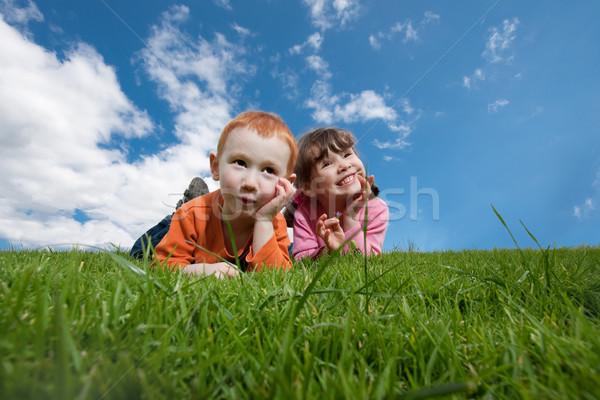 Vicces boldog gyerekek fű kék ég kettő Stock fotó © sdenness