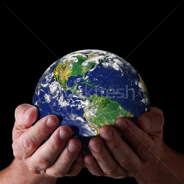 Kezek tart világ észak dél-amerika szeretet Stock fotó © sdenness