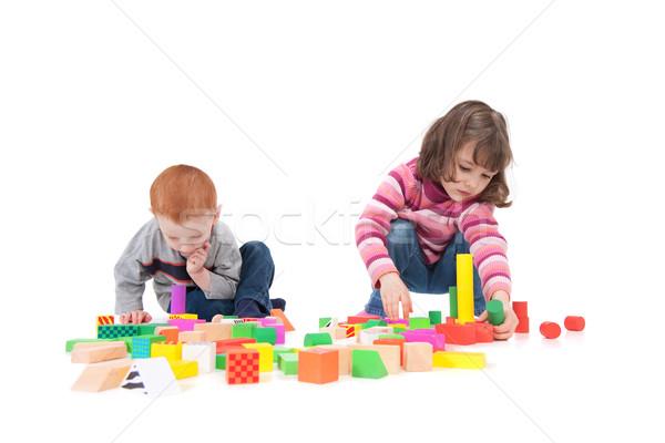 Dzieci budynku dwa odizolowany biały Zdjęcia stock © sdenness