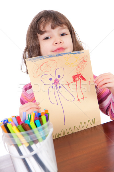 Maternelle fille art dessin isolé Photo stock © sdenness