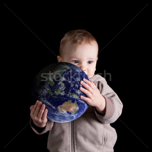 Stockfoto: Jongen · toekomst · wereld · wereldbol