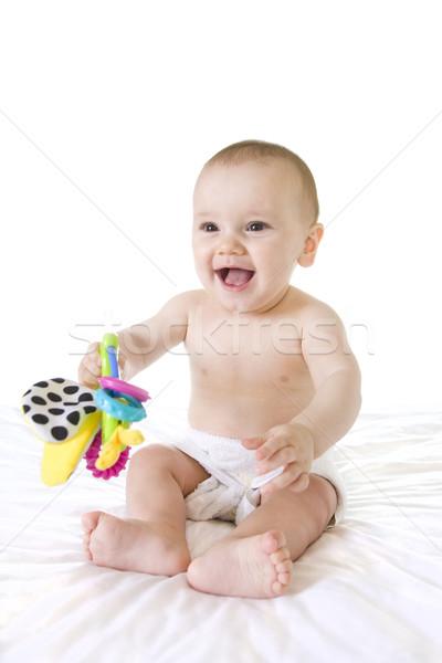 Boldog ül baba nevet mosolyog felfelé Stock fotó © sdenness
