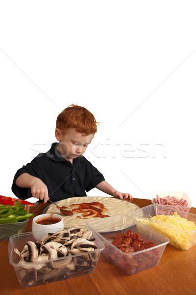 Chłopca domowej roboty pizza młody chłopak odizolowany biały Zdjęcia stock © sdenness