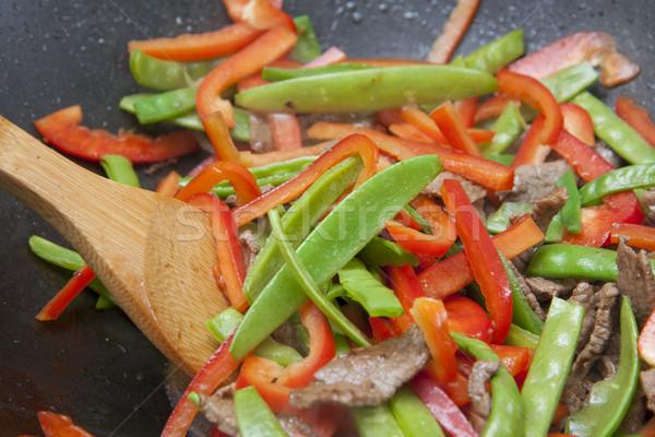 Kolorowy przygotowanie mięsa warzyw gotowany czarny Zdjęcia stock © sdenness