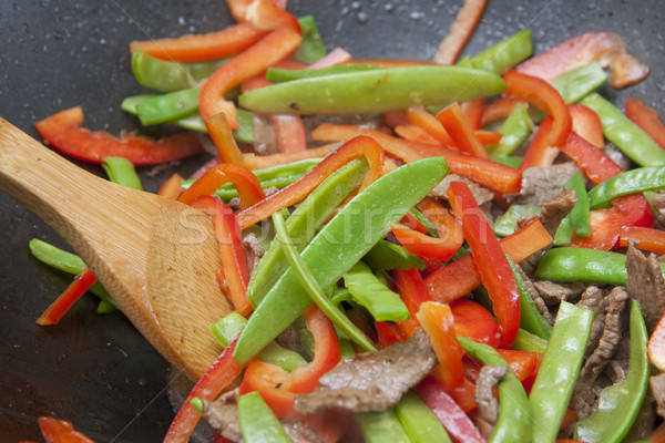 Colourful stir-fry preparation Stock photo © sdenness