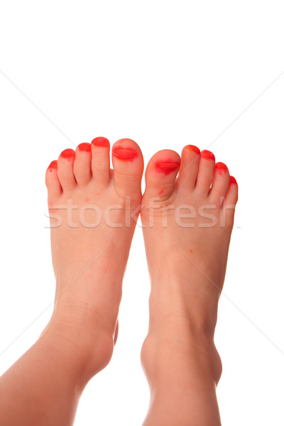 Girls toenails painted with marker instead of nail polish Stock photo © sdenness