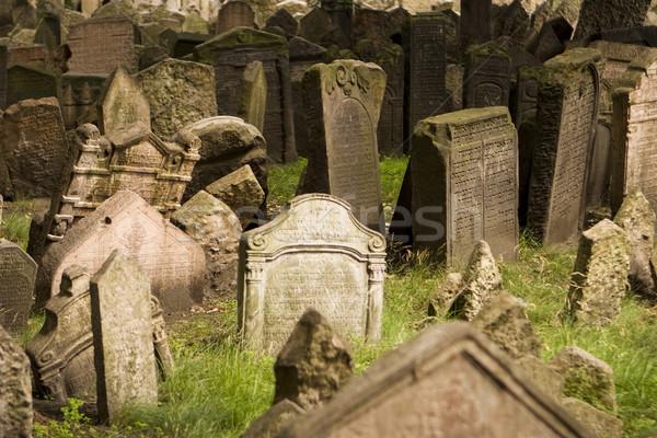 Stockfoto: Oude · Praag · begraafplaats · oneffen · dode