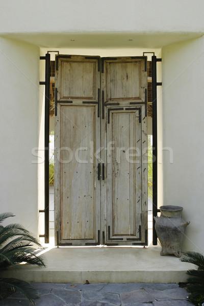 Antigo madeira porta porta de entrada mexicano casa Foto stock © searagen