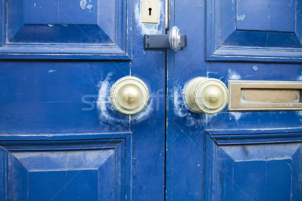 Kék ajtó bronz ajtóküszöb kulcslyuk festék Stock fotó © searagen