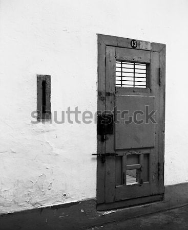 şanssız hücre numara 13 ahşap kapı Stok fotoğraf © searagen