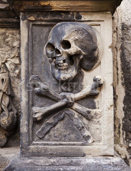 Skull And Crossbones On Headstone Stock photo © searagen