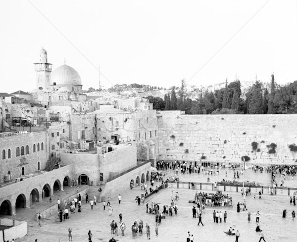 Western fal Jeruzsálem naplemente zsúfolt emberek Stock fotó © searagen