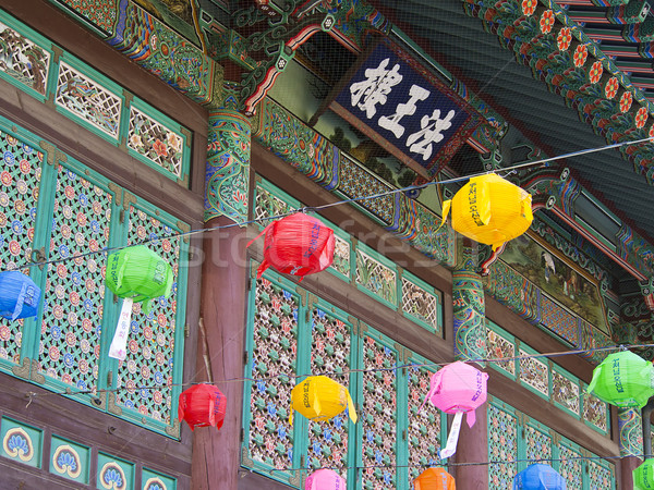 Entrée bouddhique temple Séoul Corée du Sud peint Photo stock © searagen