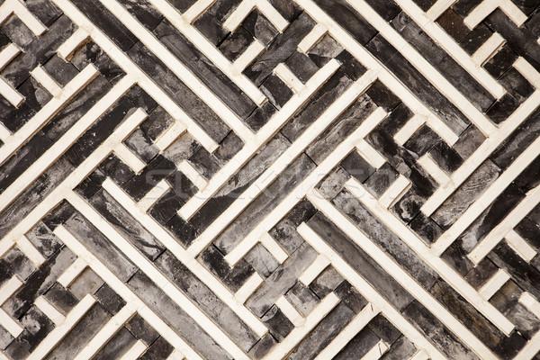 Geometryczny wzór drewna jeden architektoniczny szczegóły budynków Zdjęcia stock © searagen