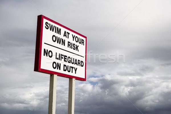 Nem úszómester kötelesség felirat észak Miami Stock fotó © searagen