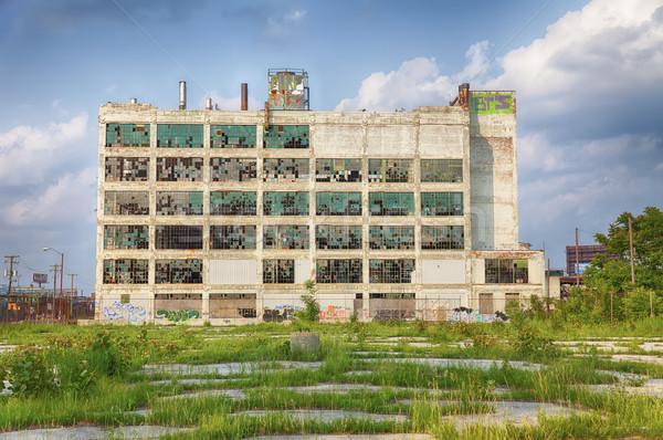 Detroit fabriek ruines oude park gebroken Stockfoto © searagen