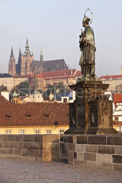 Praga estatua puente castillo catedral Foto stock © searagen