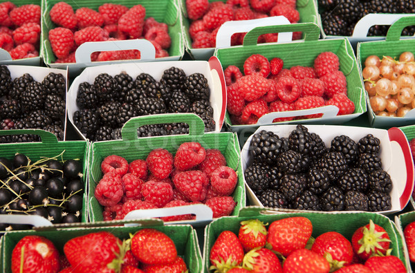 Display Beeren Laden Vielfalt Himbeeren Brombeeren Stock foto © searagen