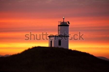 Vuurtoren zonsopgang vee punt san juan eiland Stockfoto © searagen