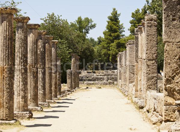 Greek Stone Pillar Colonnade Stock photo © searagen