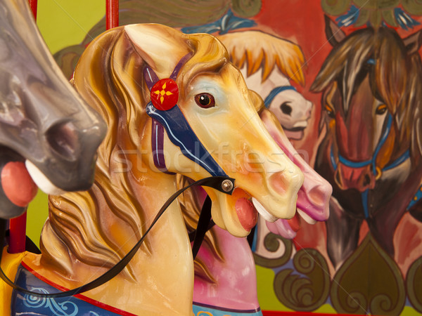 Colorful Horses On Carousel Stock photo © searagen