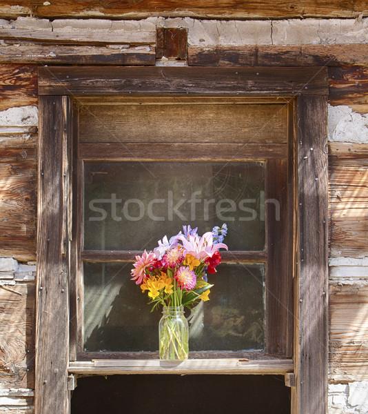 Venster stilleven oude pionier cabine Stockfoto © searagen