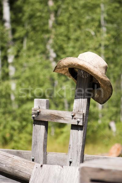 Cowboyhoed post stro oude houten Stockfoto © searagen