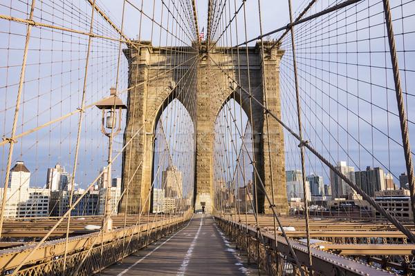 Köprü kule bir yaya soğuk gün Stok fotoğraf © searagen