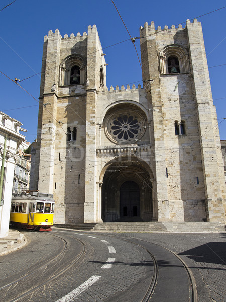 Lisbon Cathedral With Streetcar Stock photo © searagen