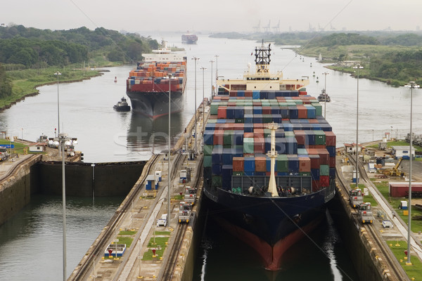 Cargo Ship in Panama Canal Stock photo © searagen