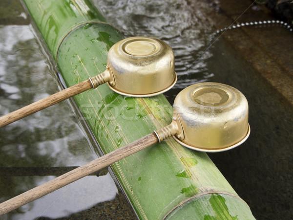 Santuario due ottone bambù shinto Giappone Foto d'archivio © searagen