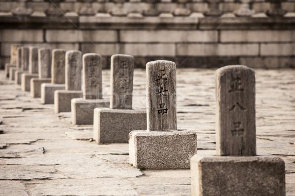 Csetepaté rang kövek fő- királyi palota Stock fotó © searagen