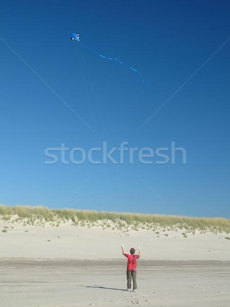 Boy Flying Kite Stock photo © searagen