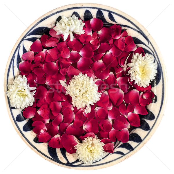 Rose Petals In Bowl, Isolated Stock photo © searagen