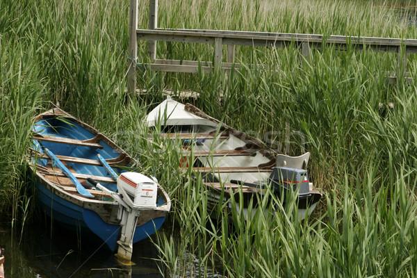 Kettő hajók kicsi perem tó fű Stock fotó © searagen