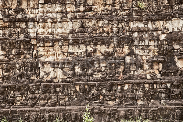 Carvings On The Leper King Terrace Stock photo © searagen