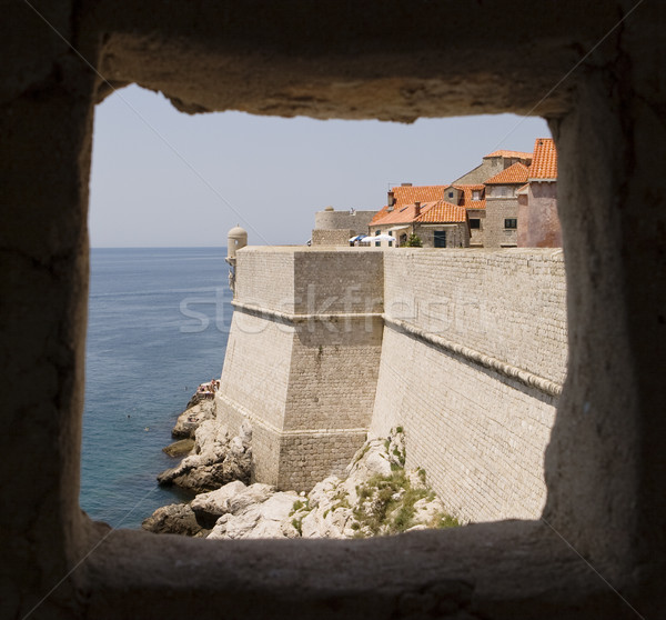 Dubrovnik Walls Through Window Stock photo © searagen