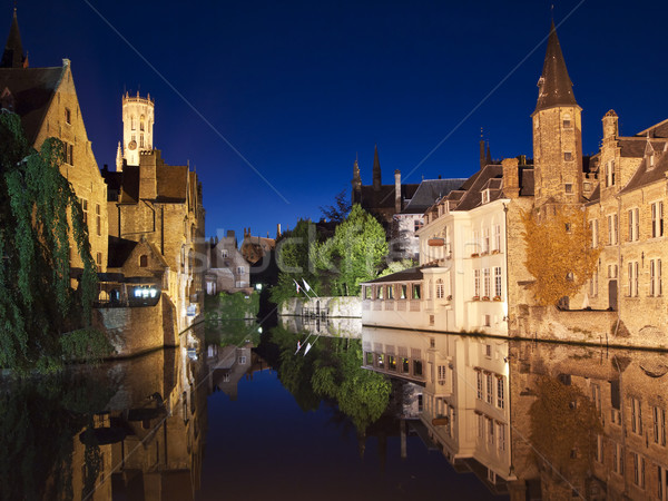 Bruges Canal At Night Stock photo © searagen