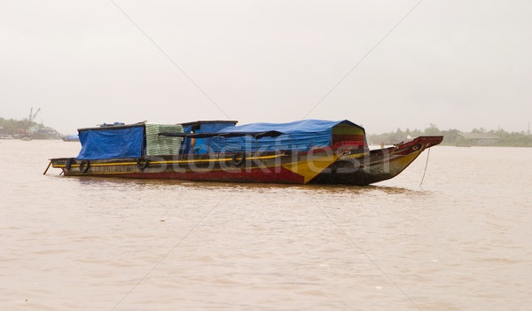 Foto stock: Rio · expedição · dois · barcos · âncora · delta