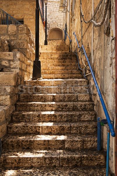 каменные лестница узкий назад бит свечение Сток-фото © searagen