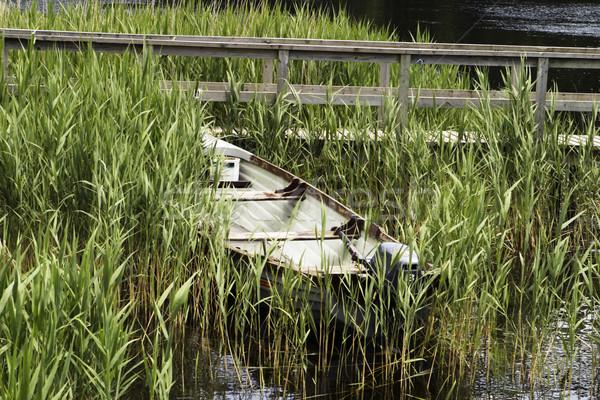 Ein Boot Seeufer wenig Ruderboot Motor Stock foto © searagen