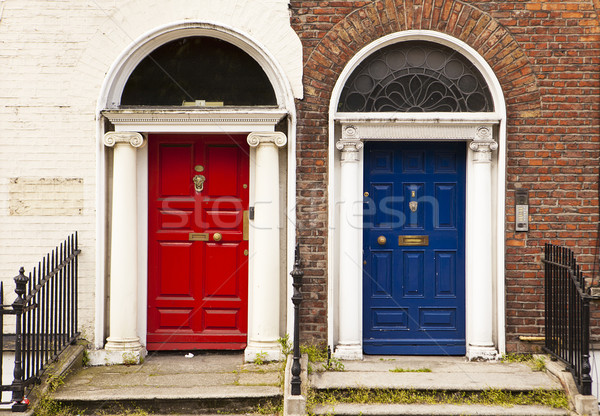 Stock photo: Red and Blue Doors