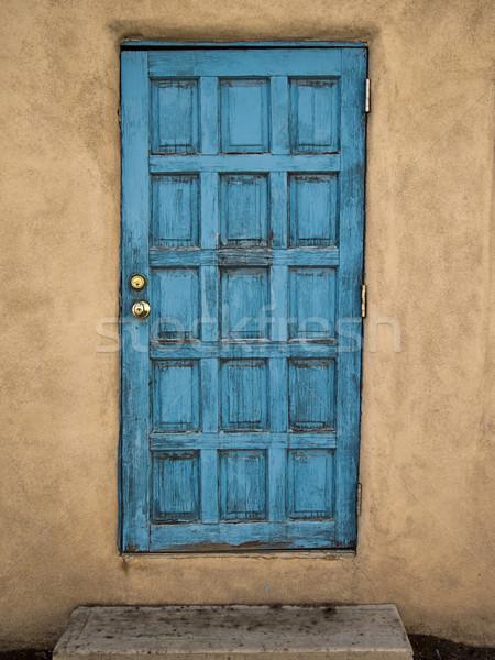 Kék ajtó sár fal öreg alkotóelem Stock fotó © searagen