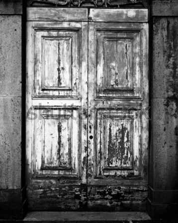 антикварная двери старые краской черно белые Сток-фото © searagen
