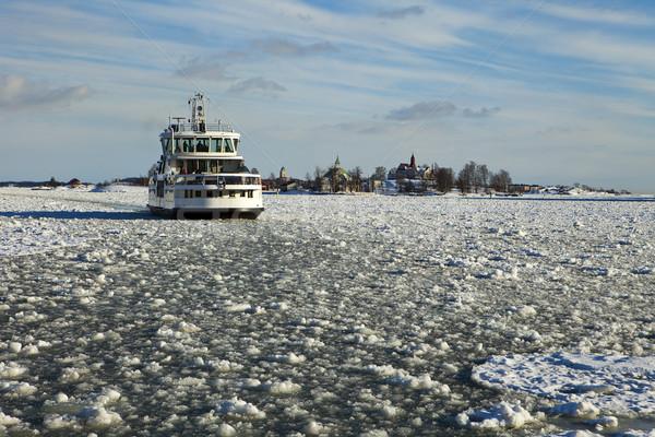 Feribot Helsinki kış küçük tekne Stok fotoğraf © searagen