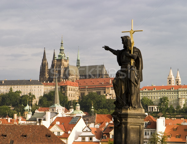 Stock photo: Prague Castle With Statue