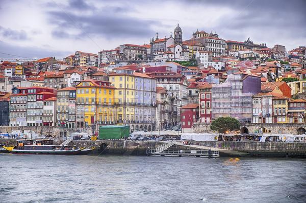 Folyó kilátás vízpart promenád város Portugália Stock fotó © searagen