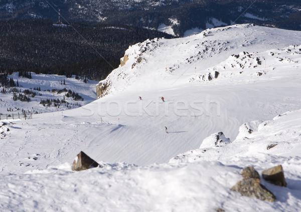 Esquiar ver um montanha três pessoas visível Foto stock © searagen